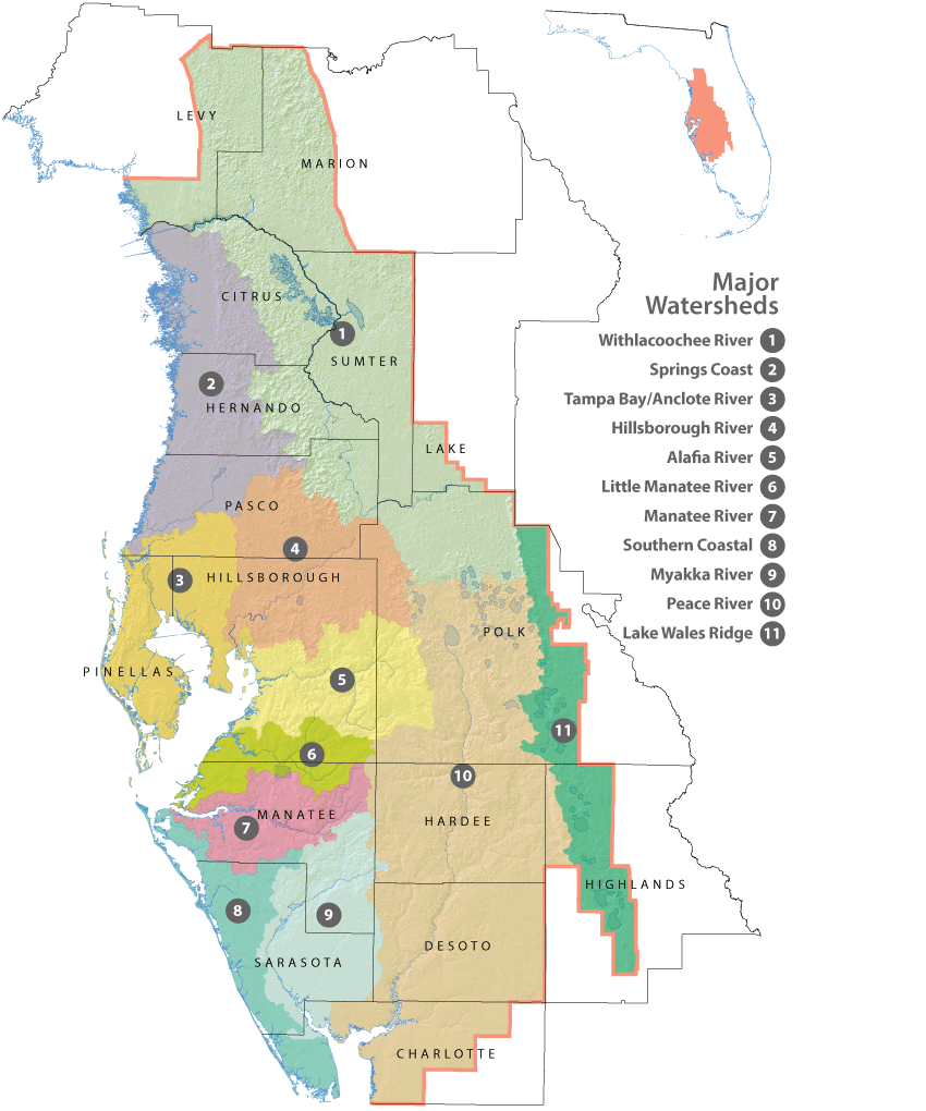 Florida Images Map.District Maps Major Watersheds Watermatters Org