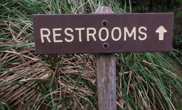 Rustic restrooms sign