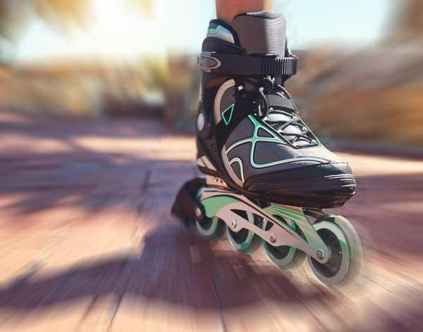 Rollerblade in action close-up