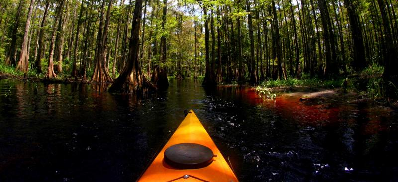 yellow kayak on wilderness river