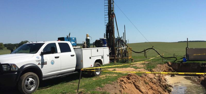 Test drilling at wellsite