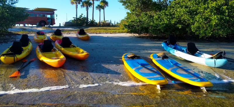 kayaks and paddle boards on river shore
