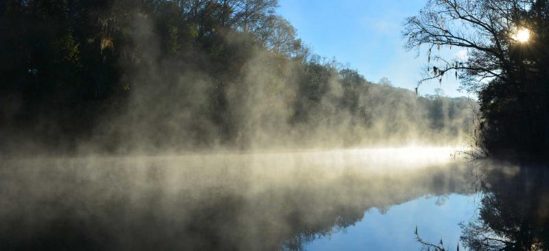steamy fog rising off of river