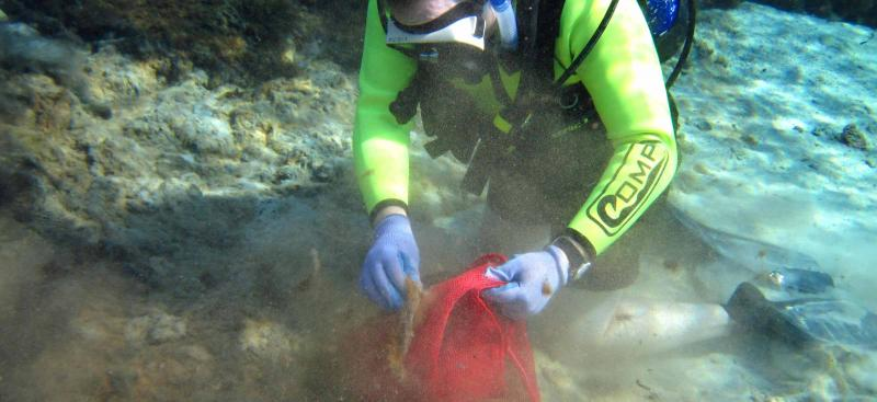 Diver helping cleanup Weeki Wachee Springs