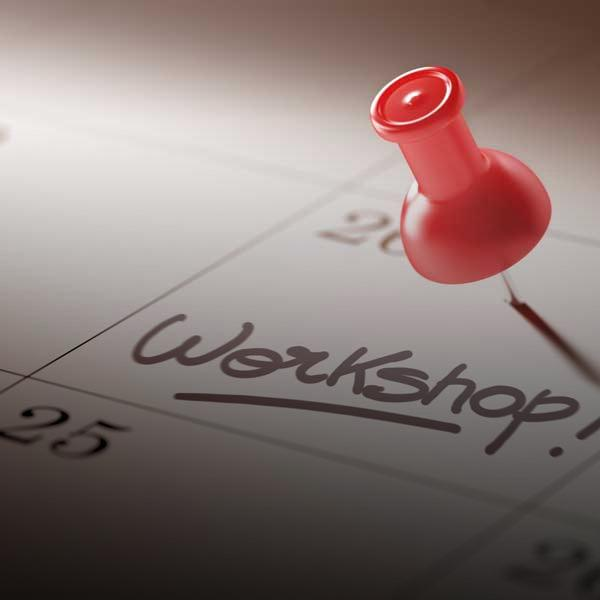 Closeup of calendar workshop date