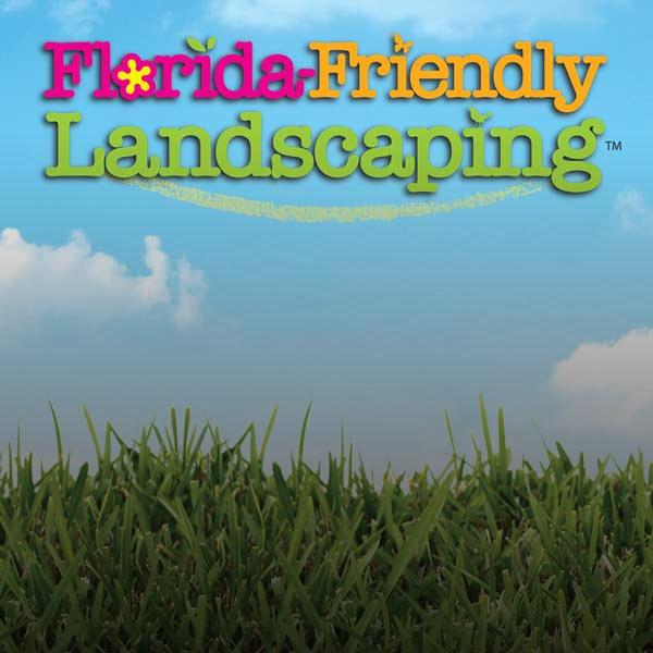 Florida-Friendly Landscaping text over green grass with blue sky