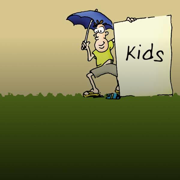 drawing of a boy under umbrella holding sign