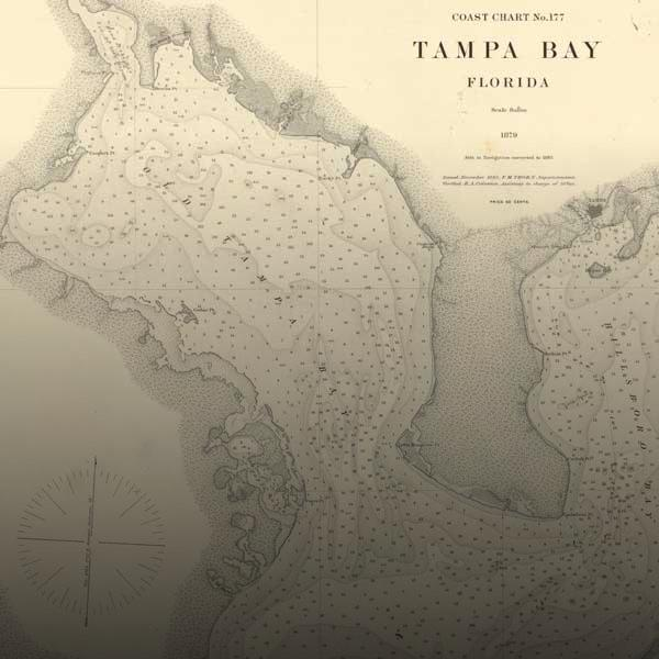 Historical map of Old Tampa Bay
