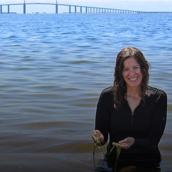 District staff standing in Tampa Bay holding seagrass